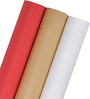 RUSPEPA Kraft Wrapping Paper Set – 3 Roll (Kraft,White,Red) for for..