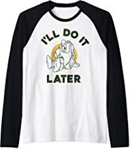 Disney Snow White Sleepy I'll Do It Later Humor Raglan Baseball Tee