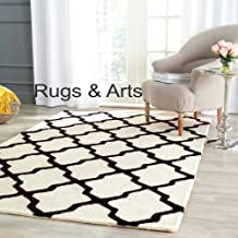 Rugs & Arts 4 x 6 Feet Moroccan Hand Made Pure Woolen Carpet Loop/Cut Pile for Living Room Bedroom Drawing Room Hall and Floor Size 4 Feet x 6 Feet (120 x 180 cm) Color Ivory & Black