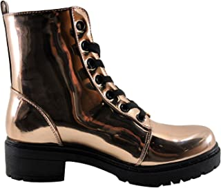 Qupid Postal 02A Women's Lace Up Metallic Boot
