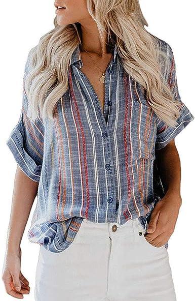 Camisa De Manga Corta con Bolsillo A Rayas para Mujer Summer ...
