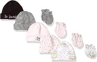 Baby Girls' 9-Piece Cap and Mitten Bundle