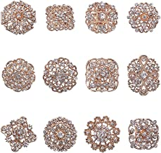 PH PandaHall 12 pcs Clear Rhinestone Crystal Flower Brooches Pins for Wedding Party Bouquet Broaches Kit Women Dress Decorations, Golden