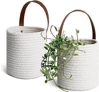 POTEY 710204 2pack Cotton Rope Woven Christmas Hanging Basket - 6.29 x 7.08 Medium Woven Fern Hanging Storage Basket Bin f...