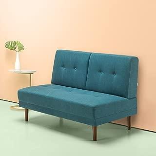 Zinus Juan Mid-Century 51 Inch Armless Sofa Couch / Loveseat, Turquoise
