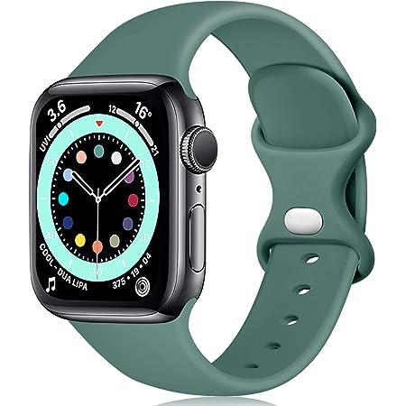 Epova Compatible con Correa Apple Watch 42mm 44mm, Mujer Hombre Silicona Pulsera para iWatch SE Series 6 5 4 3 2 1, Pino Verde, Grande