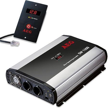 Aeg 97122 Sinus Spannungswandler Sw 1500 Watt 12 Volt Auf 230 Volt Fernsteuerungsmodul Und Batteriewächterfunktion Auto