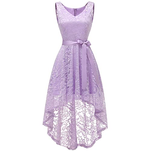 1667b4b67a26 BeryLove Women's Floral Lace Hi-Lo Bridesmaid Dress V Neck Cocktail Formal  Swing Dress