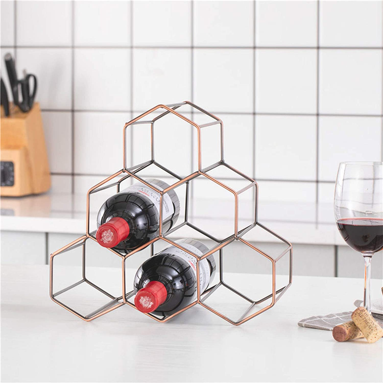 Cabinet Wine Cellar Bar Black Tabletop Honeycomb Wine Rack,Modern Black Metal Wine Rack,Perfect for Home Decor Basement Pantry,6 Bottle Wine Holder for Wine Storage