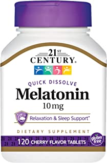 21st Century Melatonin Quick Dissolve Tablets, Cherry, 10 mg, 120 Count