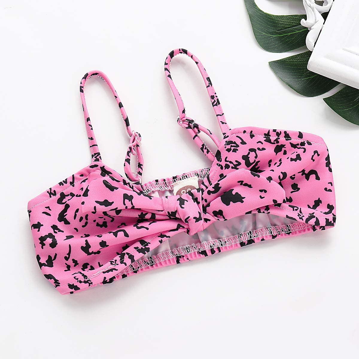 Minseng Direct Toddler Bowknot Swimsuit Leopard Print Little Girls Outfit Set