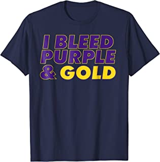 I Bleed Purple & Gold t-shirt graphic t-shirt for sports fan