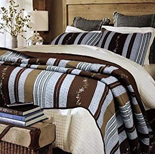 Finely Stitched Lake House Blue Rustic Resort Walnut Brown Cabin Woods Stripes with Floral Vine Accents Quilt Set - King