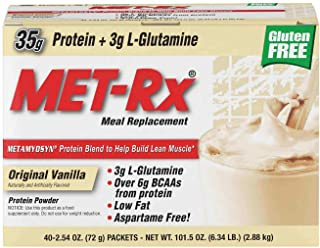 MET-Rx Original Whey Protein Powder,Meal Replacement Shakes, Low Carb, Gluten Free, Original Vanilla, With Vitamin A, Vita...