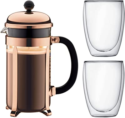 Bodum - 3 Piece French Press Set - Chambord 8 Cup French Press in Copper & 2 Double Wall Pavina Glasses 0.35l