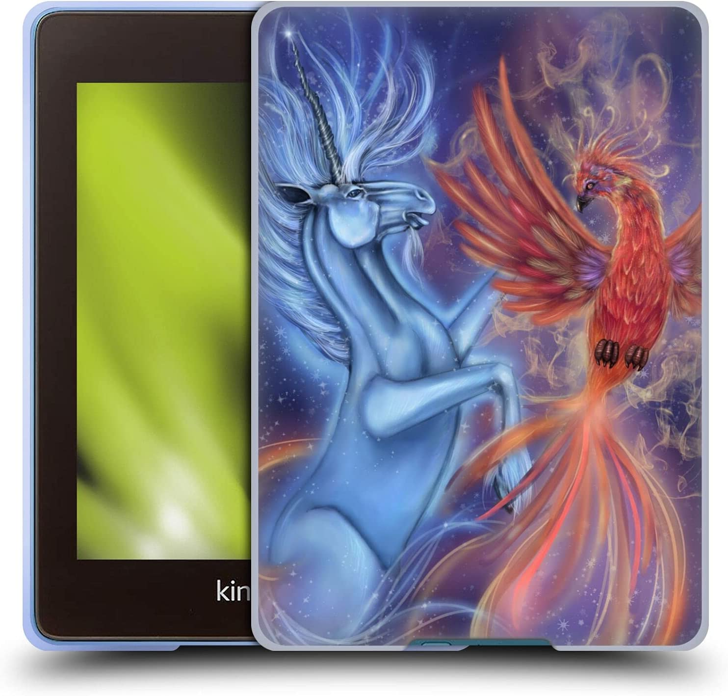 Head Case Designs Officially Licensed Ash Evans Fire Phoenix and Ice Unicorn Magical Creature Soft Gel Case Compatible with Kindle Paperwhite 4 (2019)