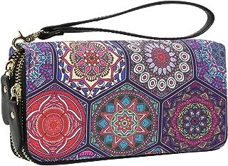Elephant Phone Zip Wristlet Wallet - Bohemian Ladies Purse Organizer Clutch Bag Card Holder for Women