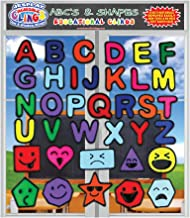 Alphabet and Shapes Gel Clings - Flexible Reusable Glass Window Clings for Kids and Toddlers - ABC Letters Octagon, Square with Silly Faces – Educational Fun for Home, Airplane, Classroom, Nursery