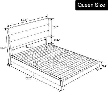 Allewie Queen Size Fabric Upholstered Platform Bed Frame with Headboard and Wooden Slats, Fully Upholstered Mattress Foundati