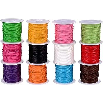 Cordón Encerado,Cera Trenzado 12 rollos 1mm Vistoso Hilo de Cuerda Cuerdas para Collar DIY Collar Pulsera Fabricación de Artesanía 120m: Amazon.es: Hogar