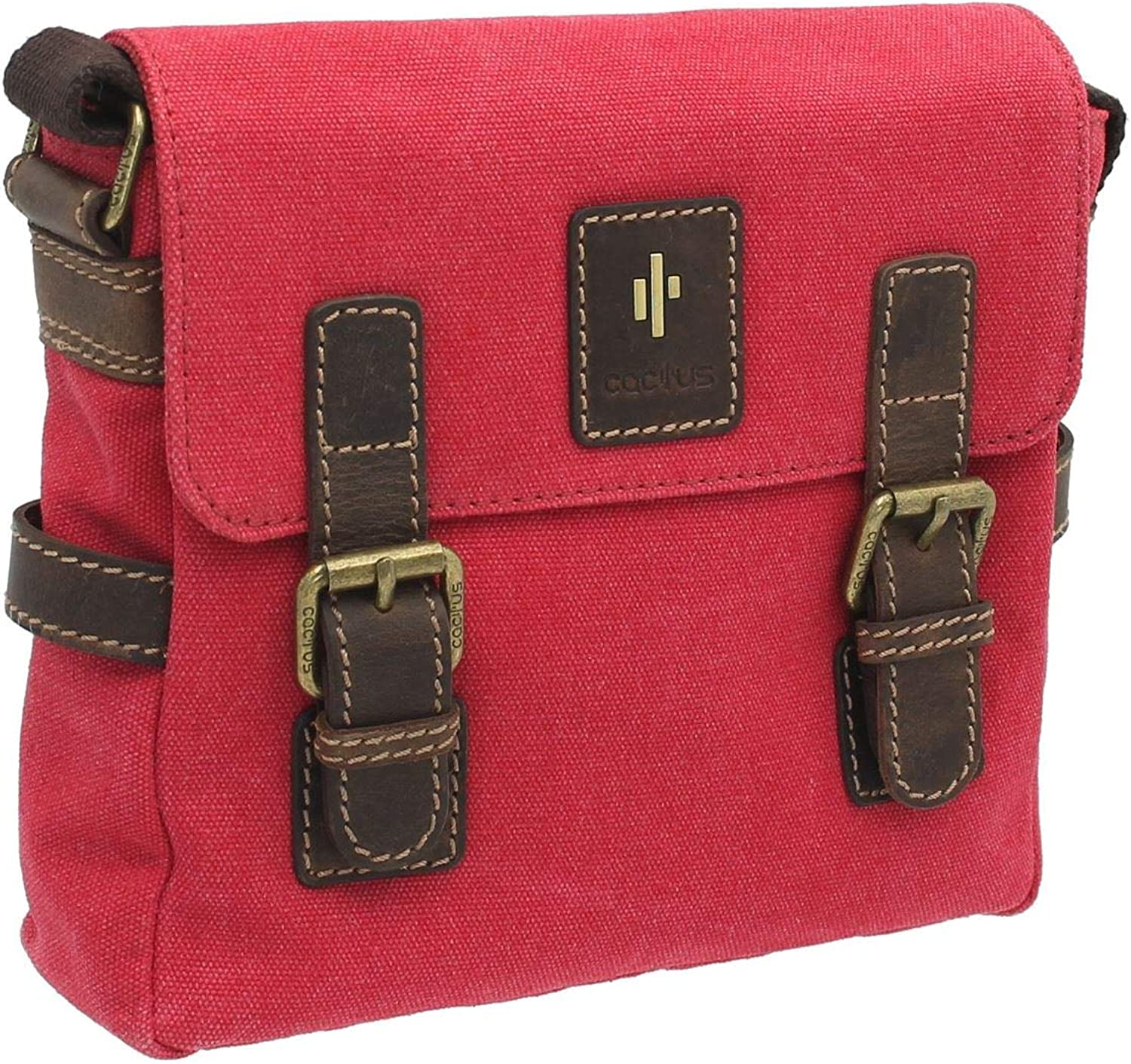 CACTUS Leinwand und Distressed geölte Ledertasche Messenger Bag CS808_81 CS808_81 CS808_81 Rot B07GQWVBP5 77be6c