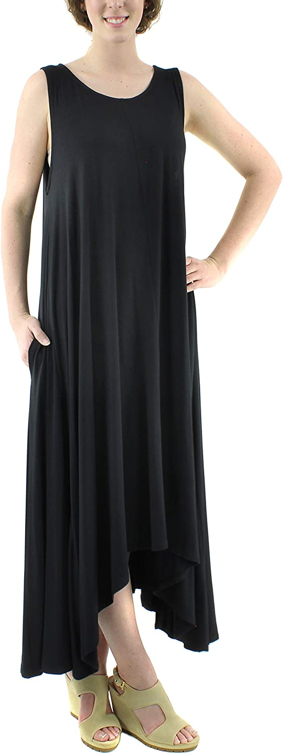 QR Women's Sleeveless Loose Plain Maxi Dresses Casual Long Dresses with Pockets