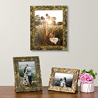 Art Street Gold Black Set of 3 Photo Frames for Table Top Display and Wall mounting Picture Frame Home DecorSize4X6, 5X7, ...
