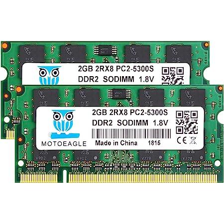 ノートPC用メモリPC2-5300 DDR2 667 2GB×2枚 200Pin 1.8V CL5 Non-ECC SO-DIMM Mac 対応