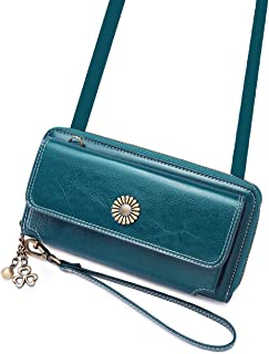 Womens Geniune Leather Long Wallet Crossbody Shoulder Travel Phone Purse Wristlet Clutch Handbag Card Holder Cellphone Holster Case for iPhone 11 Pro 8 Plus X Xs Max Large Blue iDream