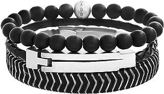 Steve Madden Stainless Steel Black Braided Leather and Black Beaded Triple Bracelet Set For Men
