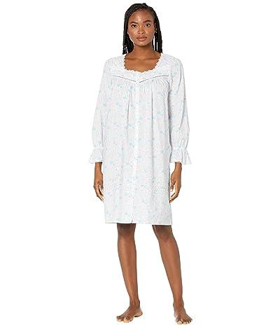 Eileen West Cotton Lawn Woven Long Sleeve Short Button Front Robe (White Multi) Women