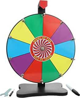 Whirl of Fun Prize Wheel 12 Inch Tabletop-10 Color Slots, Write on Erasable Whiteboard..