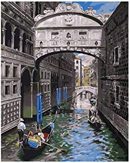 Diy Painting By Numbers For Adults Water City Architecture Diy Oil Painting For Kids Arts Craft For Home Wall Decor-16 X 2...