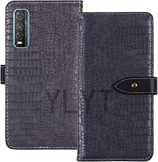 YLYT Shockproof - Gray Flip Leather TPU Silicone Luxury Cover Stand Wallet Case For Vivo Y70t 6.53 inch Pouch With Card Sl...