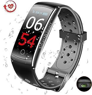 GLAMSVILL El Mejor Pulsera de Actividad Inteligente Pulsera Actividad Reloj Inteligente con Monitor Presión Arterial y Frecuencia Cardíaca, para Dispositivos Android y iOS, Soporte español (Negro)