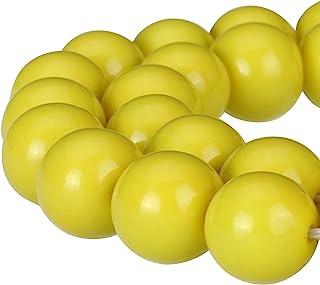 RUBYCA Round Opaque Painted Druk Czech Glass Beads Bulk Jewelry Making Supplies Strand (Yellow, 10mm)
