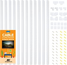 Cable Concealer On-Wall Cord Cover Raceway Kit - 12 White Cable Covers - Cable Management System to Hide Cables, Cords, or Wires - Organize Cables to TVs and Computers at Home or in The Office