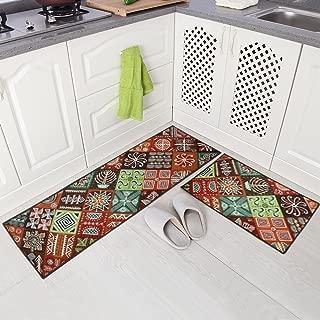 Carvapet 2 Piece Non-Slip Kitchen Mat Runner Rug Set Doormat Vintage Design Baroque Style (15