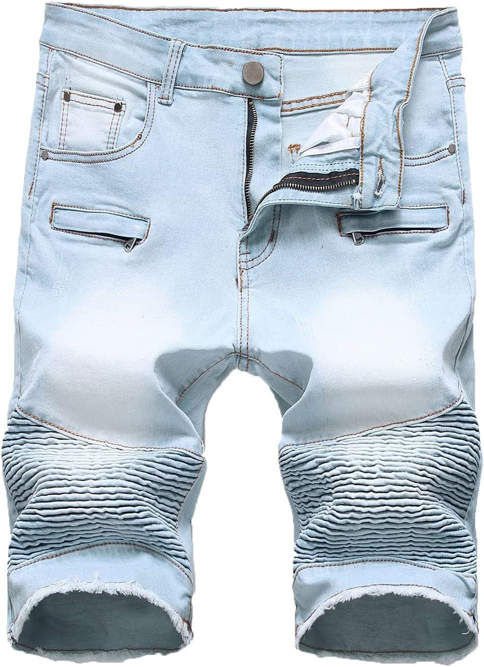 Men's Biker Denim Shorts Ripped Vintage Slim Zip Short Jeans Cool Fashion Pleated Fray Pockets Short Jean Pants (Light blue1,31)