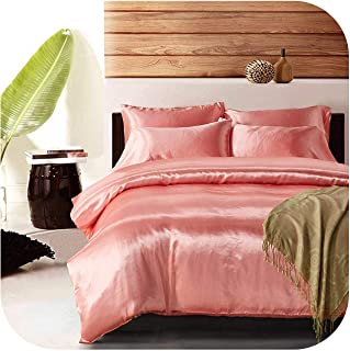 NAVY-SHOP Satin Silk Duvet Cover Set Us UK Size 3Pcs/Set Modern Bedding Grey Oriental Quilt Covers Bed Set,Pink,UK-Single