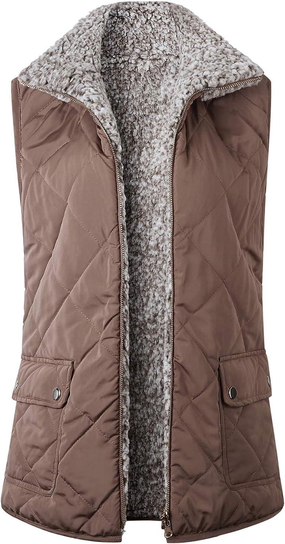 Ainangua Women's Warm Fleece Lined Reversible Vest Casual Lightweight Sleeveless Outwear Jacket