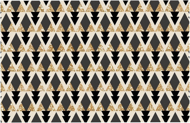 KESS InHouse MM1045BDM02 Nika Martinez Glitter Triangles in gold & Black Geometric Dog Place Mat, 24  x 15