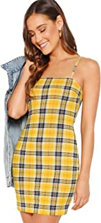 Floerns Women's Plaid Print Mini Cami Bodycon Dress