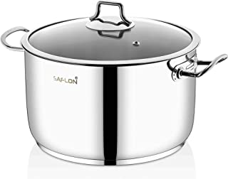 Saflon Stainless Steel Tri-Ply Capsulated Bottom 8 Quart Stock Pot with Glass Lid, Induction Ready, Oven and Dishwasher Safe