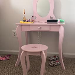 Amazon Com Milliard Kids Vanity Set With Mirror And Stool Beauty Makeup Vanity Table And Chair Set For Toddlers And Kids Pink Home Improvement