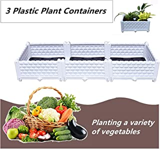 Geeaoo Raised Garden Bed, 47.2 x 15.7 x 8.6 inch Plastic Garden Box, 3 Plastic Plant Containers, Grow Vegetables, Herbs, Plants & Flowers Indoor or Outdoor, White