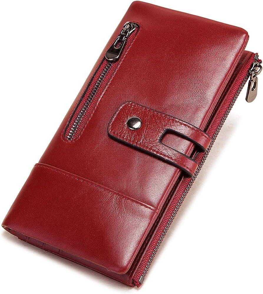 Reetee portafoglio porta carte di credito con protezione anticlonazione per donna in pelle sintetica rosso