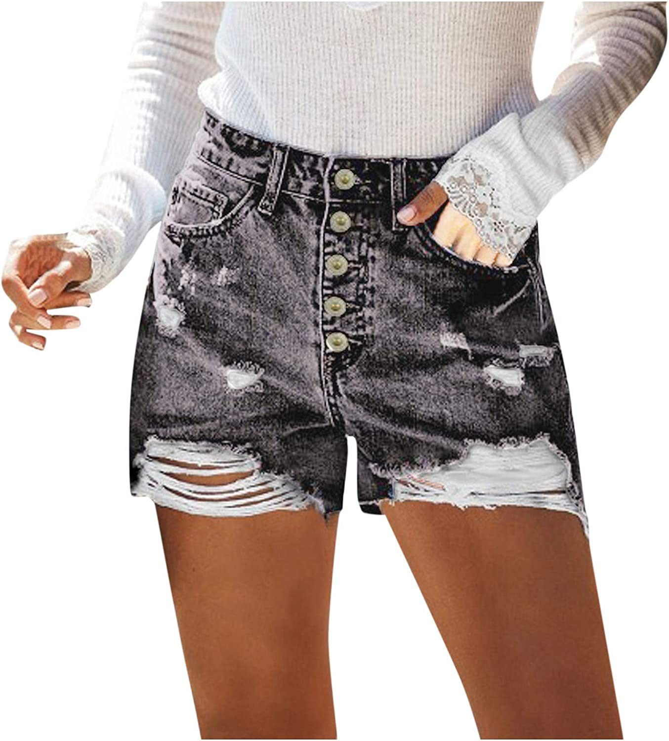 Denim Shorts for Women, Casual Solid Color Short Jeans for Women Button Fly High Waist with Hole