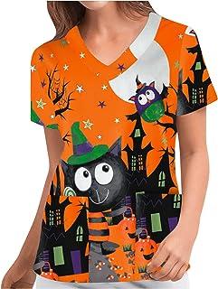 YOYHX Women's Medical Working Top Stretchy Halloween Printed V-Neck Short Sleeve Working Uniform T-Shirt