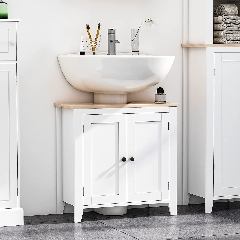 Buy Kleankin Under Sink Bathroom Sink Cabinet Storage Unit With U Shape And Adjustable Internal Shelf White Online In Germany B092v7xwrj